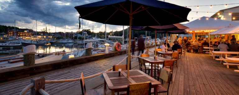 Camden Maine Restaurants - Rhumb Line Restaurant in Camden Maine Evening View over the water
